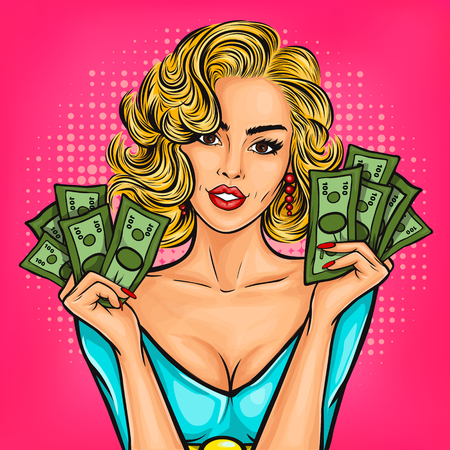 Vector pop art girl with cash in hand