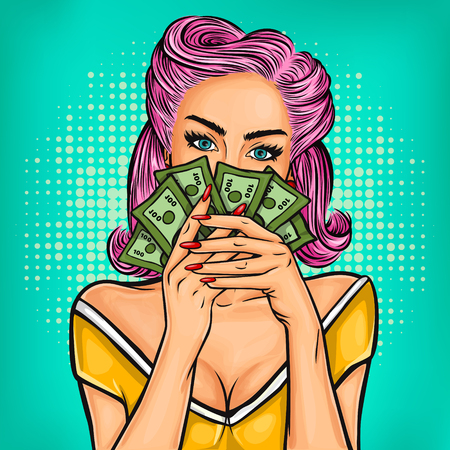 woman holding money: Vector pop art girl with cash in hand