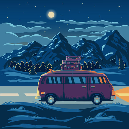 Vector illustration of a mountain landscape with the car in the foreground