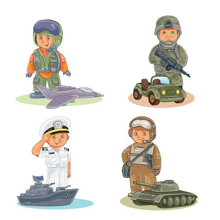 Zestaw ikon wektorowych małych dzieci lotnik, żołnierz, marynarz i tankowiec Ilustracje wektorowe
