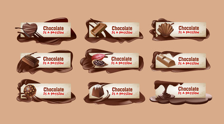 Set of vector sweet vintage chocolate banners, headers.  イラスト・ベクター素材