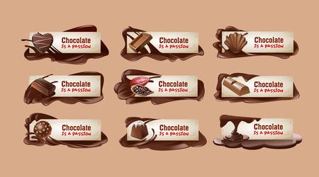 Set of vector sweet vintage chocolate banners, headers. Stock Illustratie