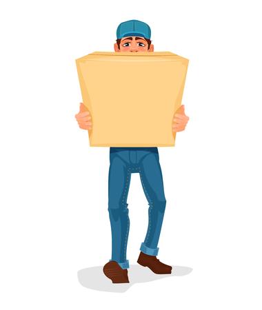 Vector illustratie man draagt een kartonnen doos