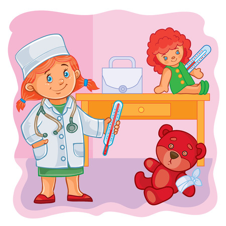 doctor toys: Vector illustration of a little girl doctor treats their toys