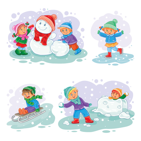 A set of vector icons of small children mold snowmen, playing snowballs, sledding and ice skating Ilustração