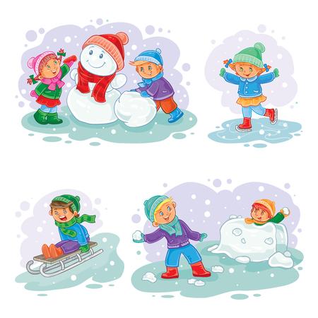Un conjunto de iconos del vector de pequeños muñecos de nieve de molde, los niños que juegan bolas de nieve, trineo y patinaje sobre hielo Ilustración de vector