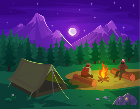 hill distant: Vector illustration of a mountain landscape with coniferous forest and camping tent in the foreground Illustration