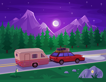 mountain road: Vector illustration of a mountain landscape with coniferous forest and the car in the foreground