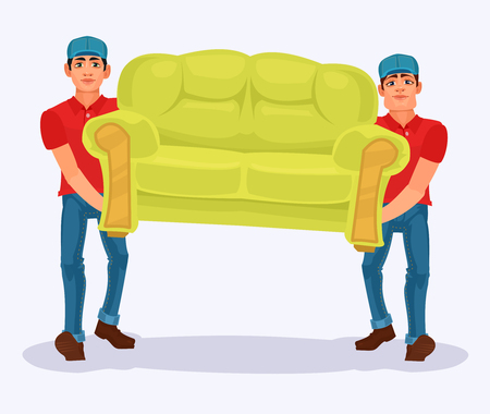 two men: Vector illustration two men carries a sofa