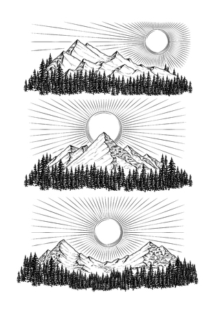 Hand drawn vector illustration the mountains in engraving style