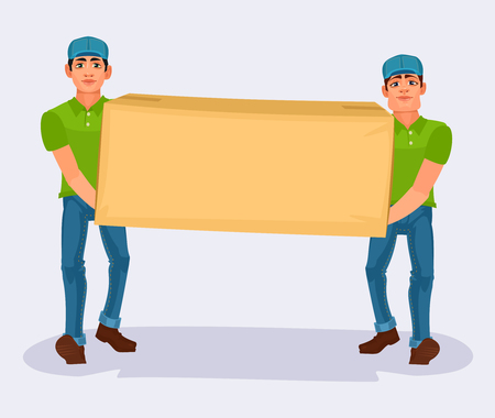 Vector illustration two men carries a cardboard box