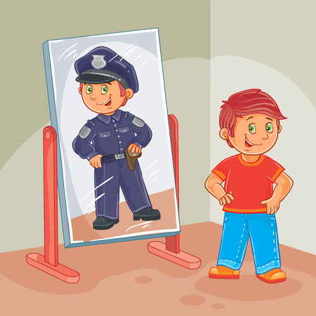 Vector illustration of a little boy dreams of becoming a police officer Illustration