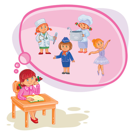 Vector illustration of a little girl sitting at a desk and dreaming