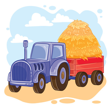 Vector illustration of cartoon tractor with trolley full of straw Illustration
