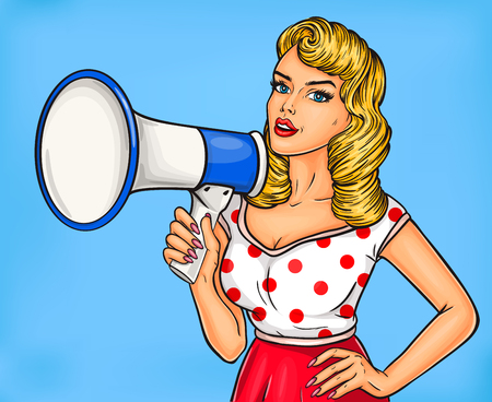 Vector illustration pop art girl with megaphone announce discounts and sales Illustration