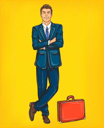 Vector illustration of a confident pop art man in a suit