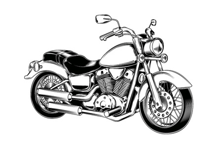 Vector illustration of hand-drawn vintage motorcycle. Classic chopper in ink style. Print, engraving Vettoriali
