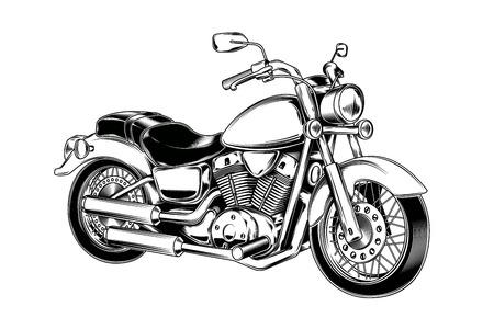 Vector illustration de la moto vintage dessinés à la main. chopper classique dans le style d'encre. Imprimer, gravure Banque d'images - 68319464