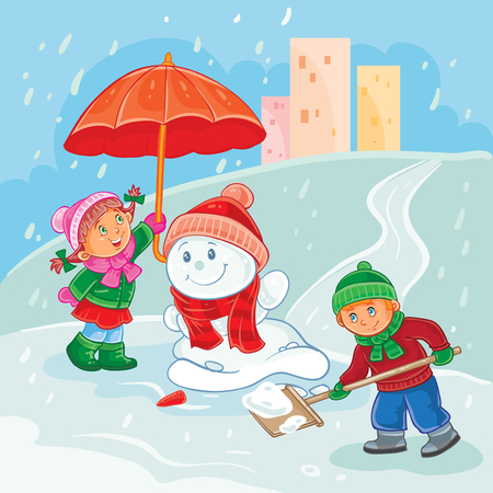 Vector winter illustration of small children mold snowmen, save the snowman during thaw