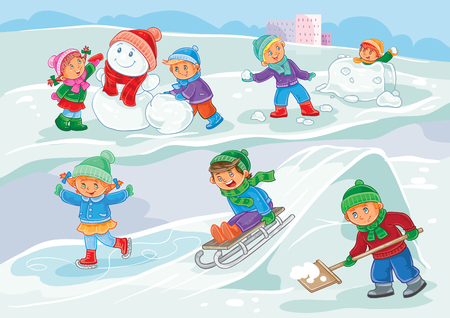 palle di neve: Vector winter illustration of small children mold snowmen, playing snowballs, sledding and ice skating