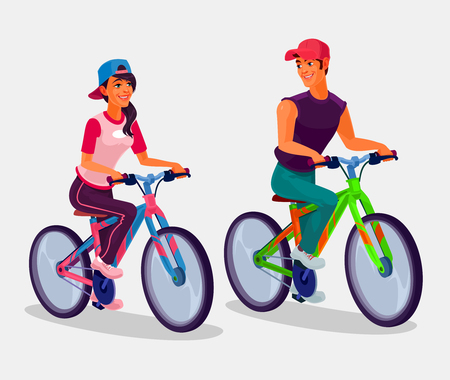 sportsmen: Vector illustration of young boy and girl riding bicycles