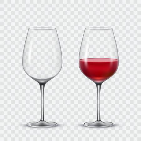 Set verres à vin transparent vecteur vin vide et rouge. Banque d'images - 68319892