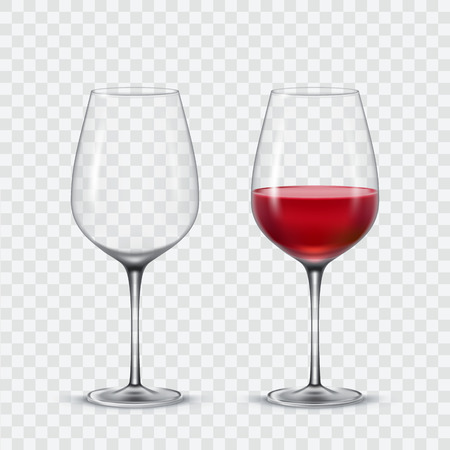 Set transparent vector wine glasses empty and red wine.