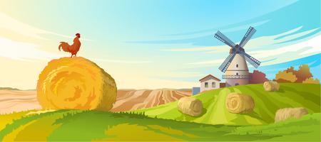 Vector illustration rural summer landscape with a windmill and rolls of straw, harvesting Ilustração