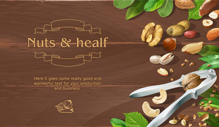 Vector illustration mix of natural raw nuts on wooden background