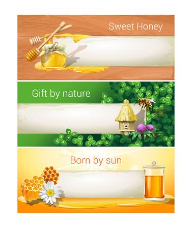 vector banners or headers: Set of sweet honeyed vector banners, headers.