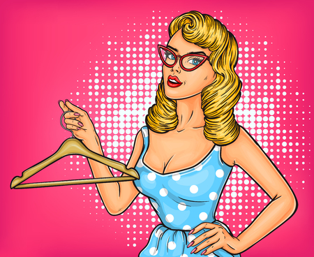 Vector illustration pop art girl with hanger dreaming about a new outfit Ilustração