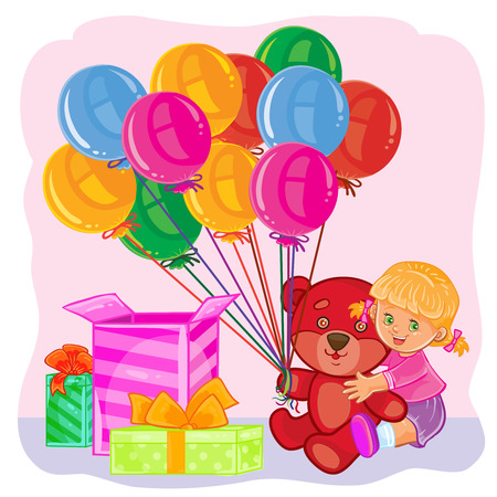 Vector illustration of a little girl opens gifts. Template for Happy Birthday greeting card.