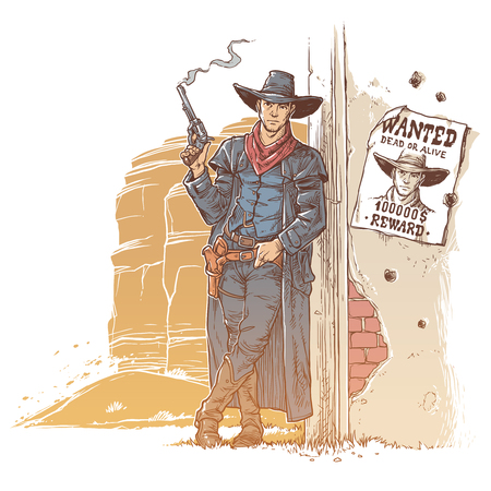 Vector illustration of a robber with a smoking gun standing next to the announcement of his wanted list Stock Photo