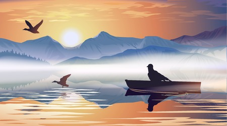 morning sunrise: Vector illustration of a man floating in a boat on the lake Illustration