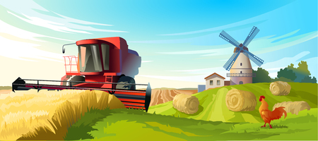 Vector illustration rural summer landscape with a windmill and combine harvester in the foreground Ilustração