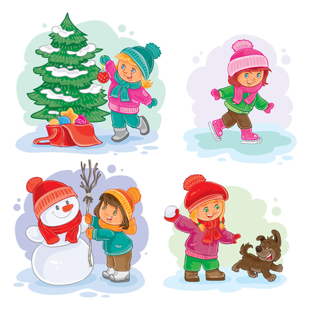 small girls: A set of vector icons of small girls mold snowmen, playing snowballs, ice skating and decorating the Christmas tree Illustration