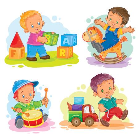 Set of vector icons little boy playing with blocks, rocking horse, beat the drum, rolling his car Vektoros illusztráció