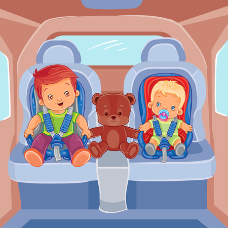Vector illustration of two little boys sitting in child car seats