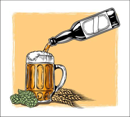 Vector illustration of beer is poured into a mug Illustration