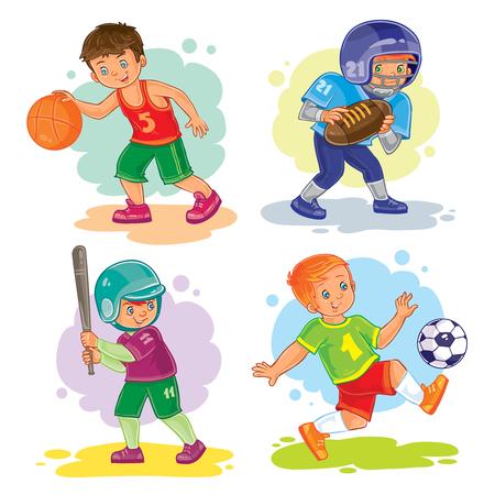 Set of vector icons of boys playing basketball, American football, baseball and soccer Illustration
