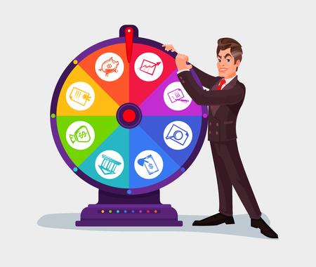 Vectorillustratie van een bedrijfsmens die het wiel van fortuin spint Stock Illustratie