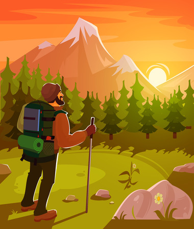 hill distant: Vector illustration of a mountain landscape with coniferous forest and tourist with a backpack on his back Illustration
