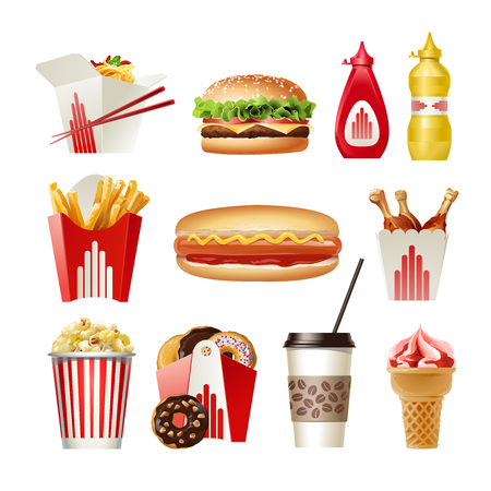 dough nut: Set of vector beautiful cartoon icons of fast food isolated on white background. Illustration