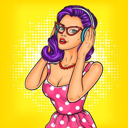 Vector illustration d'un jeune sexy pop art fille dans un casque en appréciant la musique Banque d'images - 68320496