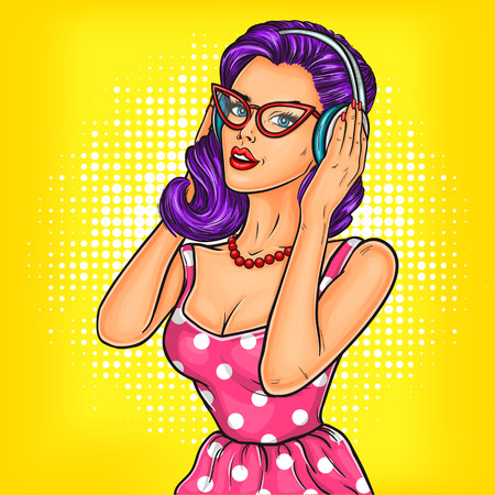 Vector illustration of a young pop art girl in headphones enjoying the music