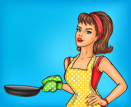 Vector illustration pop art girl in an apron holding a frying pan.