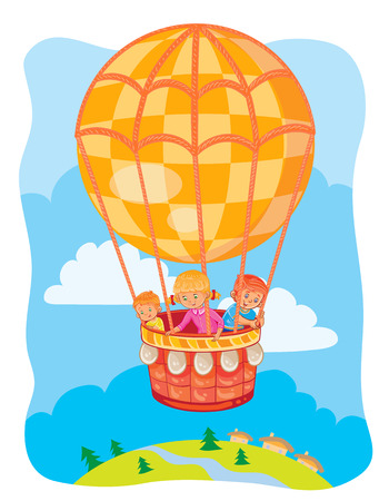 Vector illustration of little kids fly on the big air balloon
