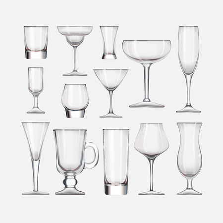 Vector set of empty cocktail stemware and glasses for alcohol Çizim