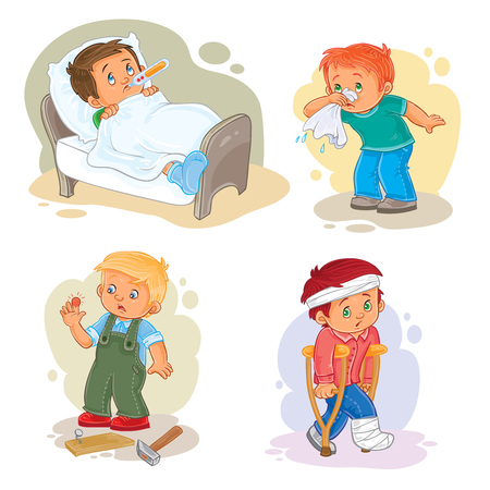 Set of vector icons little boy sick