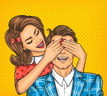 Vector pop art illustration of a young woman close eyes to the her man